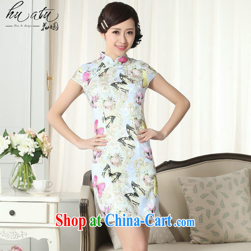 spend the summer new female elegance Chinese qipao Chinese beauty graphics thin stamp duty is a hard, short dresses such as the color 2 XL