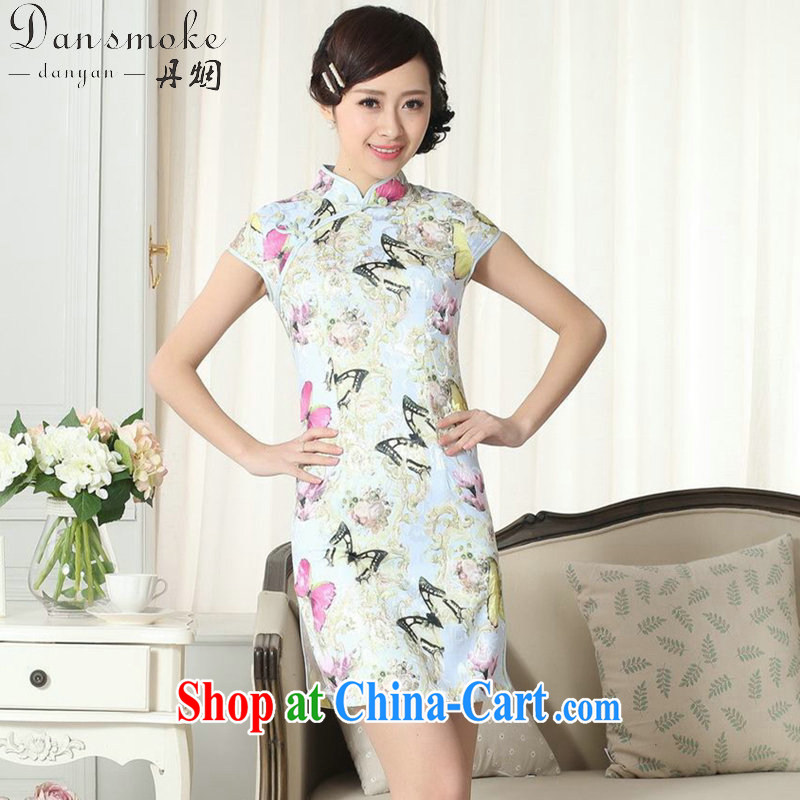 Dan smoke summer new female elegance Chinese qipao Chinese beauty graphics thin stamp duty is a hard, short dresses such as the color 2 XL