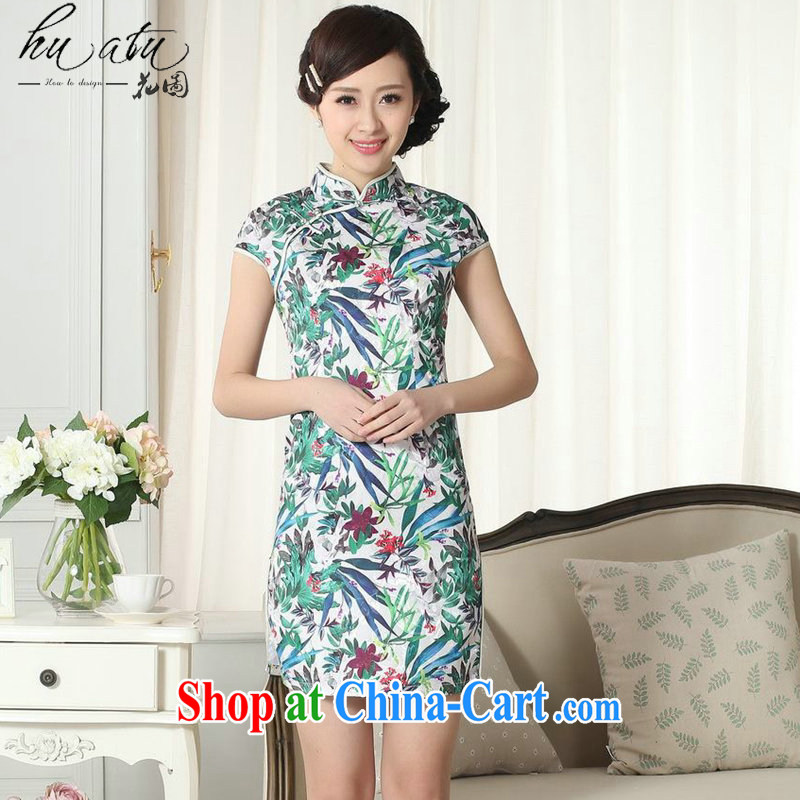 spend the summer new female elegance Chinese qipao saffron Green Leaf Chinese graphics thin, for a tight short dresses such as the color 2 XL