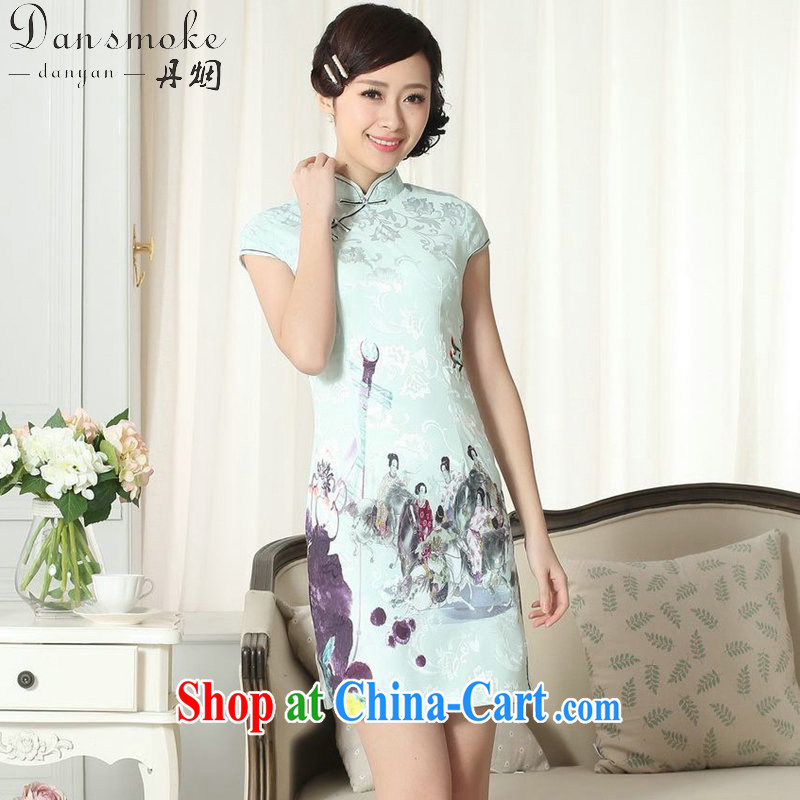 Bin Laden smoke summer new female lady stylish jacquard cotton cultivating short cheongsam dress Chinese is hard for the cheongsam dress such as the color 2 XL