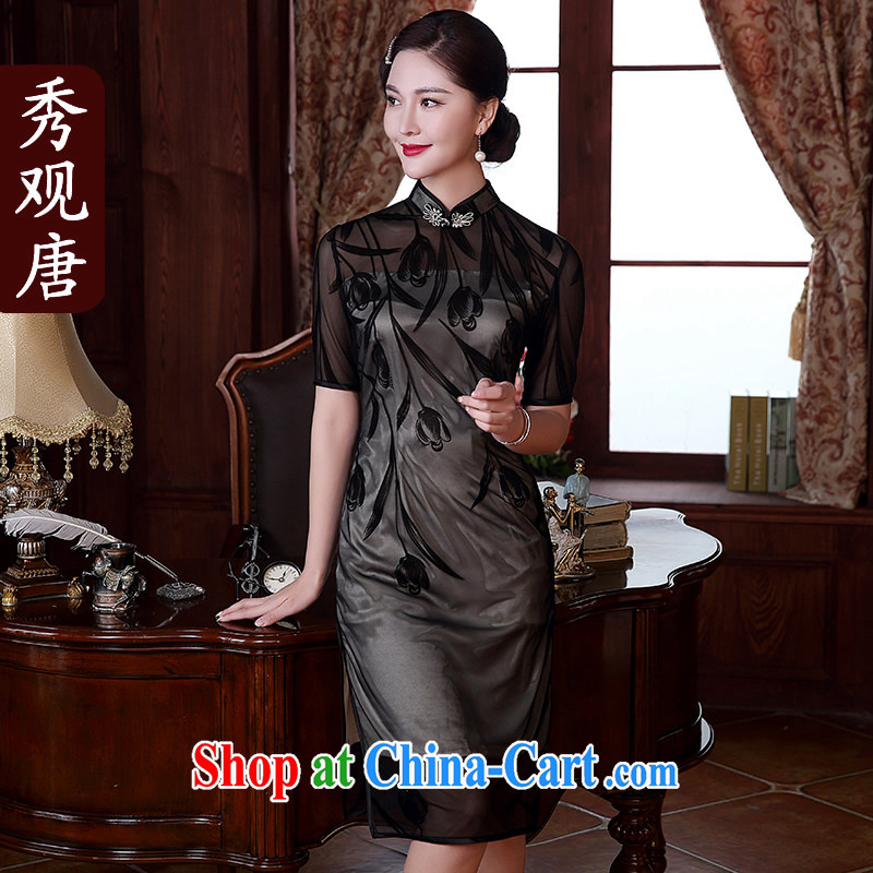 The CYD HO Kwun Tong' Spring Fragrance flocking style retro dresses 2015 summer new improved stylish sexy dresses QD 5116 black XXXL