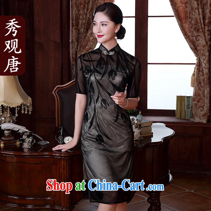The CYD HO Kwun Tong' Spring Fragrance flocking style retro dresses 2015 summer new improved stylish sexy dresses QD 5116 black XXXL