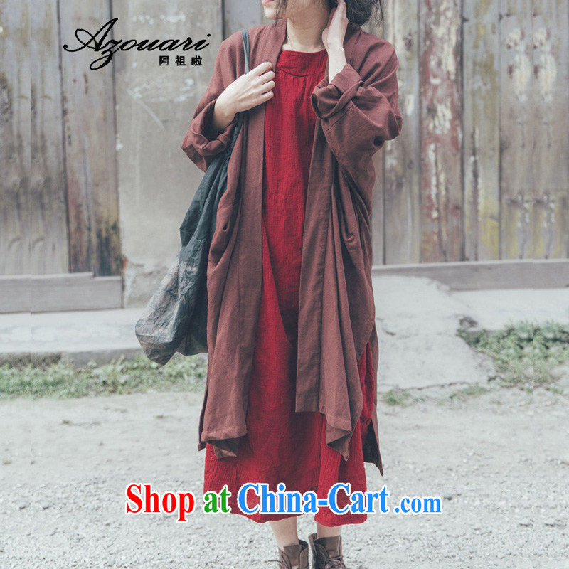 The TSU defense (Azouari) high-quality spring retro, 100 ground the long-sleeved T-shirt Chinese female long wind jacket such as the Red Cross and coffee color code