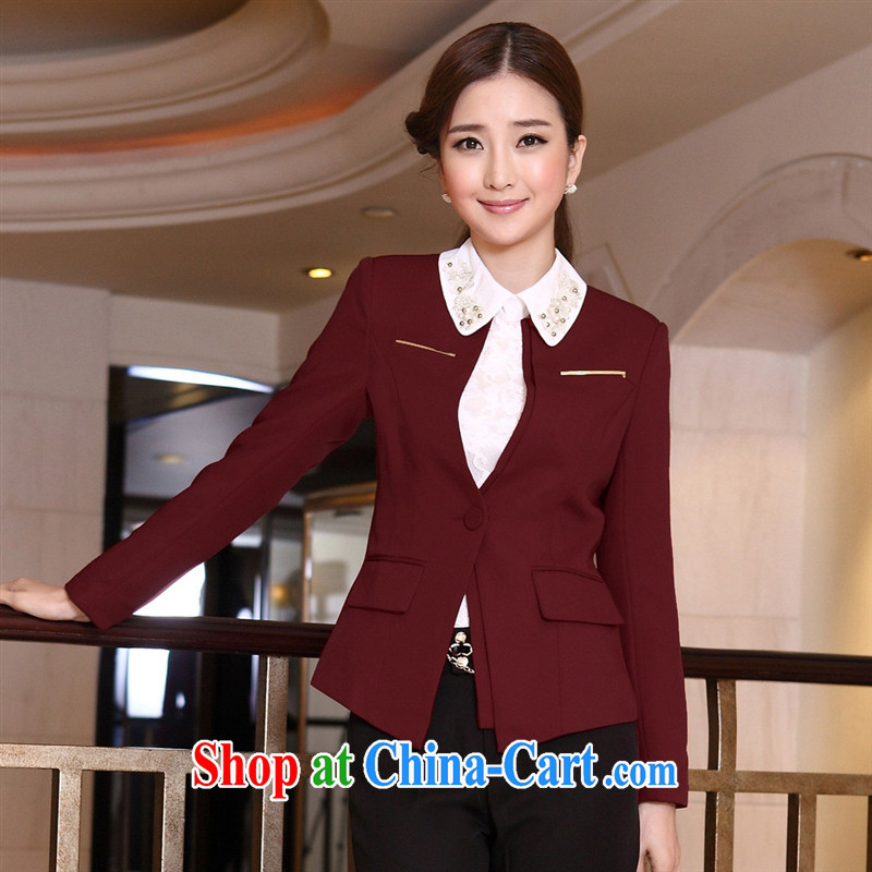 Spring loaded new manufacturers supply stylish OL Pro code small jacket career blouses 13,289 black XXXL