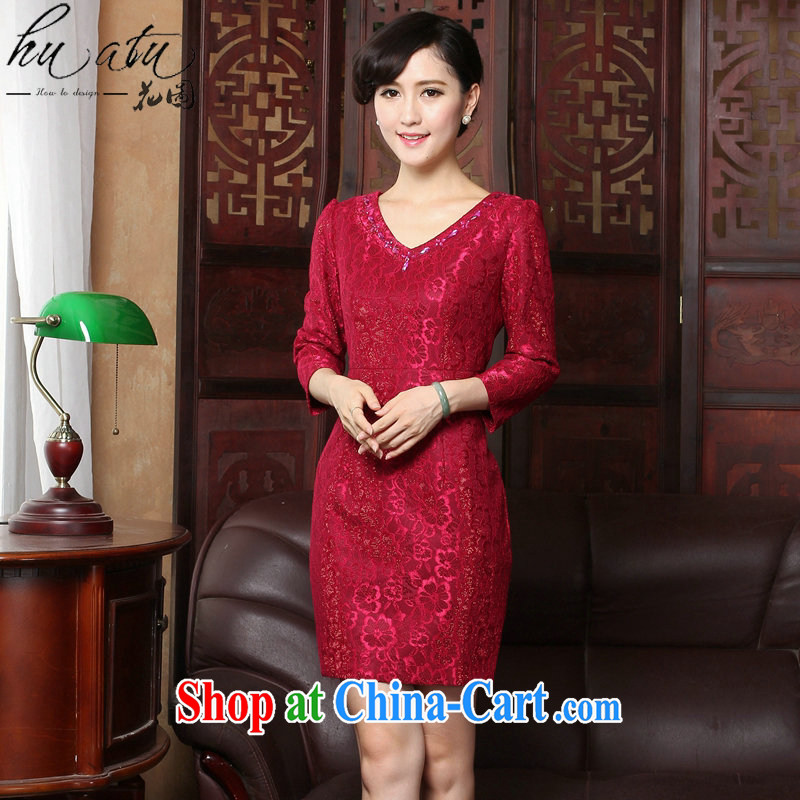 Take the 2015 spring dresses new V collar lace 9 cuff elegant beauty everyday dresses dresses dresses such as the color 3 XL