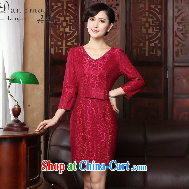 Dan smoke 2015 spring dresses new V collar lace 9 cuff elegant beauty everyday dresses dresses dresses such as the color 3 XL