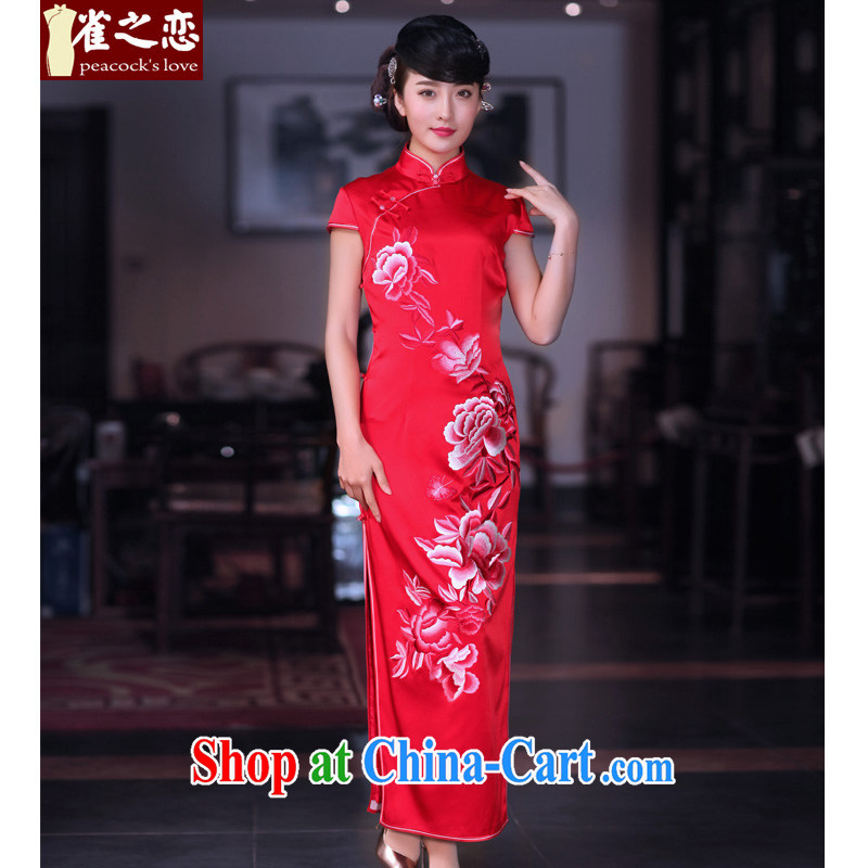 Birds of dawn tomorrow 2015 spring new heavy silk embroidered retro long red wedding dresses QD 668 red - pre-sale 15 days out XXL