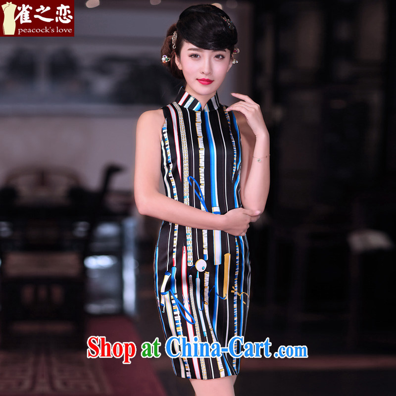 Bird lovers of light, said �� 2015 spring new OL stylish elegant beauty Silk Dresses QD 675 Vertical streaks - pre-sale 7 days XXL
