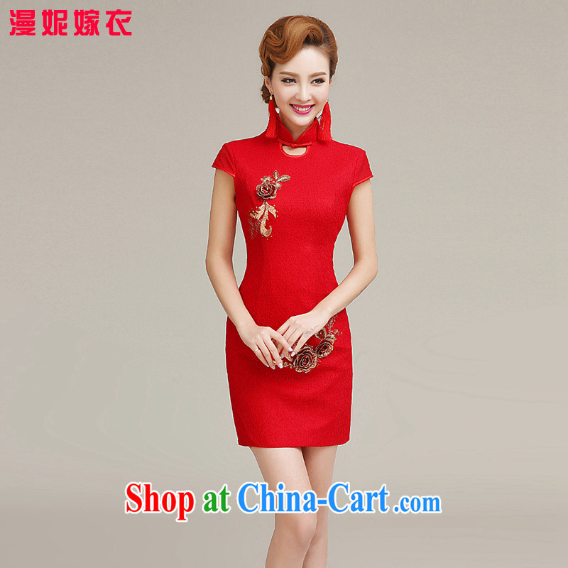 2015 spring and summer new bride toast clothing cheongsam dress, collar lace short dress New Red improved stylish wedding dresses flowers cheongsam red M