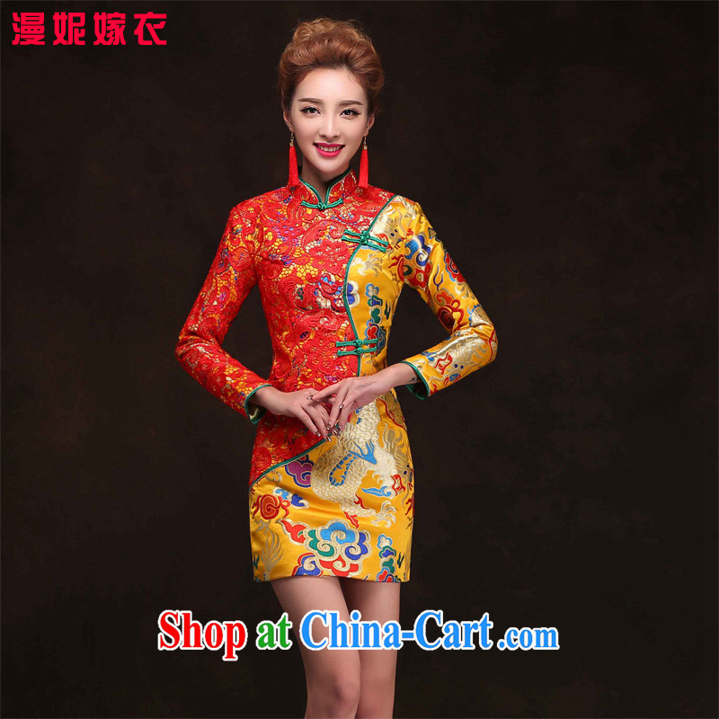 Su-wo Service Bridal wedding gown, improved Chinese marriage long-sleeved robes bows clothes 2015 new summer Gold Red bridal dresses short dresses yellow XXL