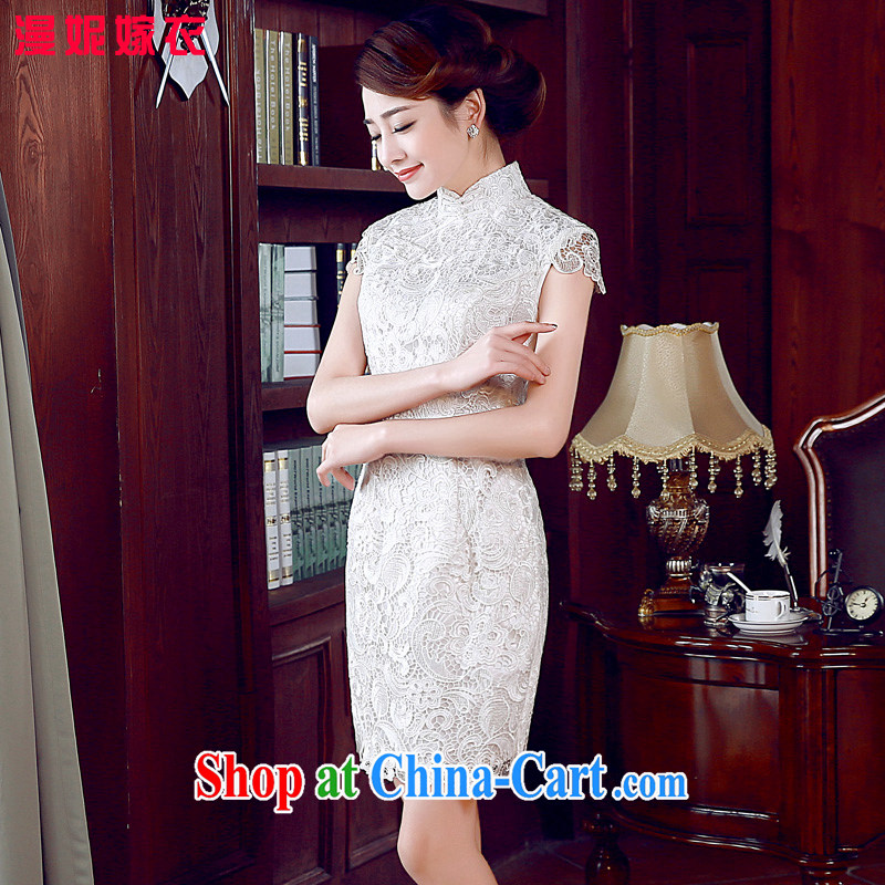 Retro elegant cheongsam dress, cheongsam dress 2015 spring new white lace short sleeve bridal wedding toast service improvement program and stylish small gift clothing white XXL