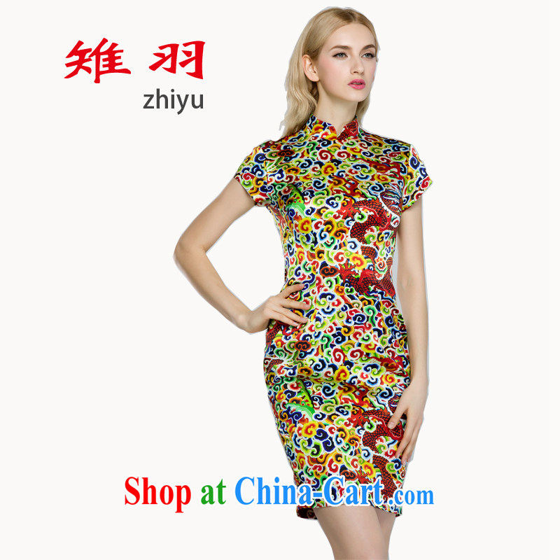 pheasants feathers cheongsam dress charm Korea 2015 spring and summer Dragon cheongsam Xiangyun silk stamp pack and qipao S