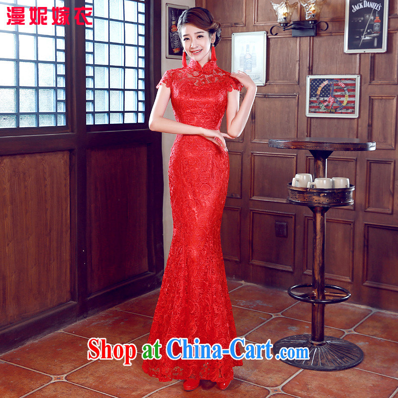 cheongsam dress 2015 spring new bride with bows. Stylish retro improved wedding dress short red wedding dresses bridal wedding dress uniform toast crowsfoot long M