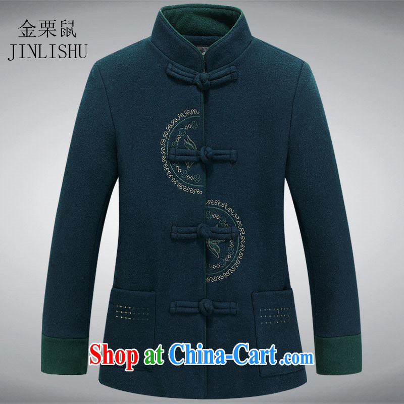 The chestnut mouse Chinese Spring Ms. loaded long-sleeved cotton Ma girl T-shirt Chinese style tea service Chinese improved Han-green L