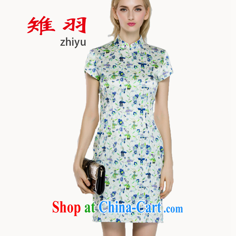 Tsutomu Hata pheasants cheongsam dress Old Shanghai style 2015 spring and summer fresh taste silk stamp pack and qipao S