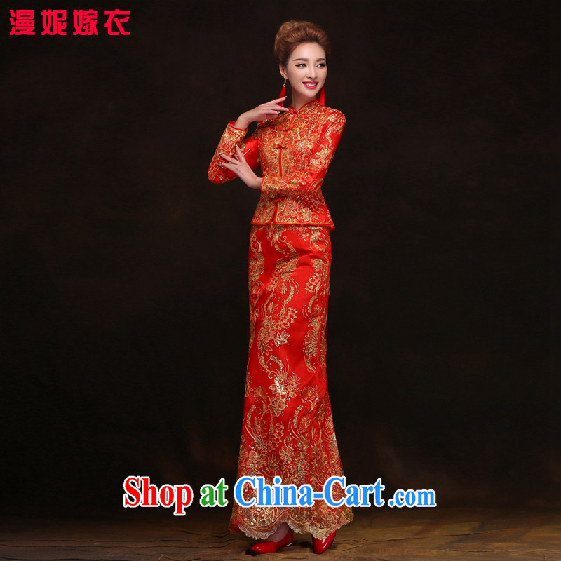 2015 spring new cheongsam Chinese wedding dress show reel service long, long-sleeved cotton bows service autumn and winter bridal dresses serving toast Back Door Service XXL