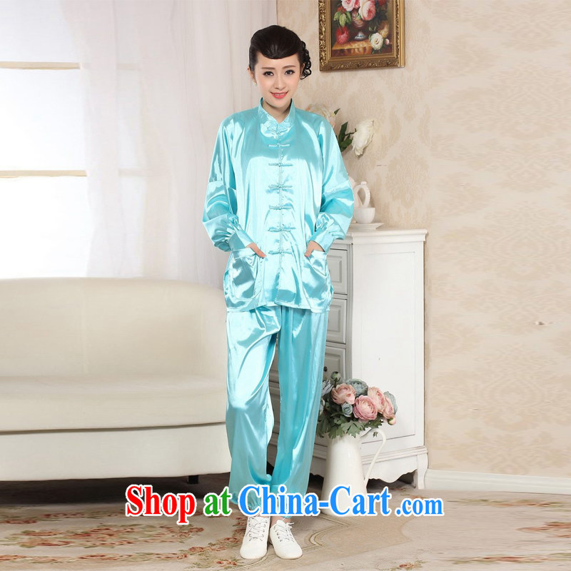 Allow Ms. Jing spring loaded Tang kit, for Ms. damask long-sleeved T-shirt Kung Fu Tai Chi clothing - E picture color 2 XL