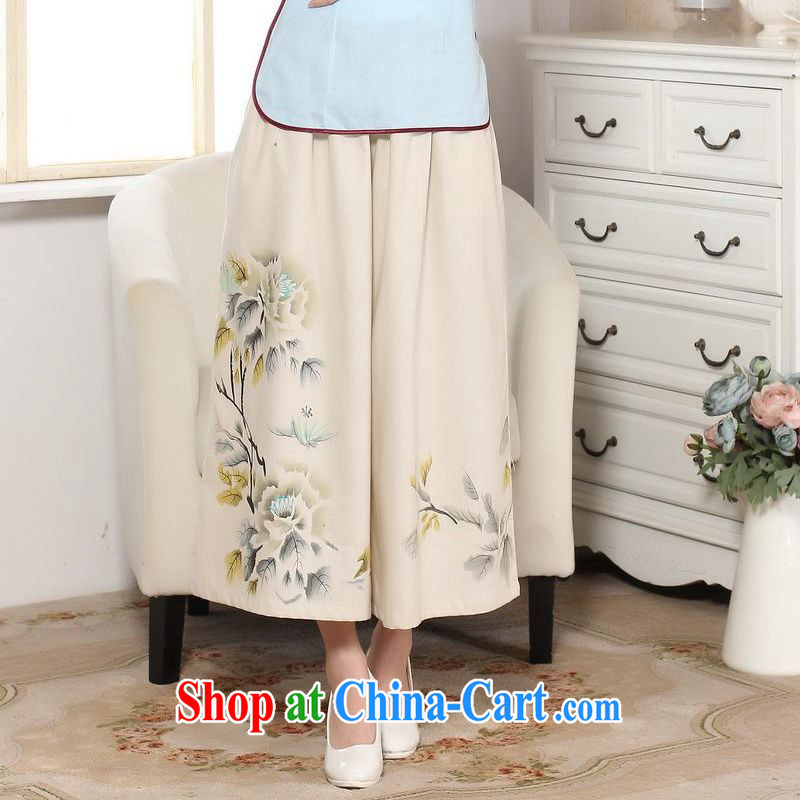 Jing An older children, Trouser Press Trouser press summer wear elastic waist cotton Ma hand-painted Tang pants MOM pants 9 pants ethnic wind widening and trouser press M yellow L