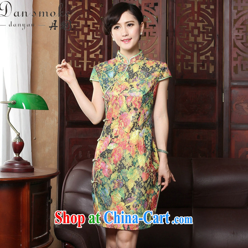 Bin Laden smoke summer new cheongsam dress Chinese Chinese improved the collar cheongsam dress lace beauty graphics thin cheongsam dress in figure 3XL