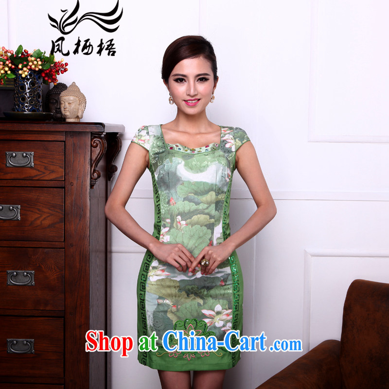 Bong-amphibious gulping, I should be grateful if you summer 2015 new improved the collar cheongsam embroidered Beauty Fashion cheongsam dress DQ 1503 green XXL