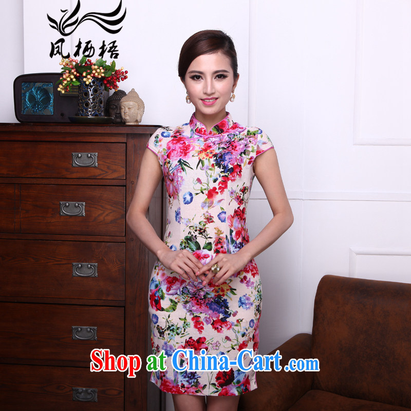 Bong-amphibious Ori-colored dance summer 2015 new retro cotton the cheongsam stylish stamp cultivating cheongsam dress DQ 1504 fancy XXL
