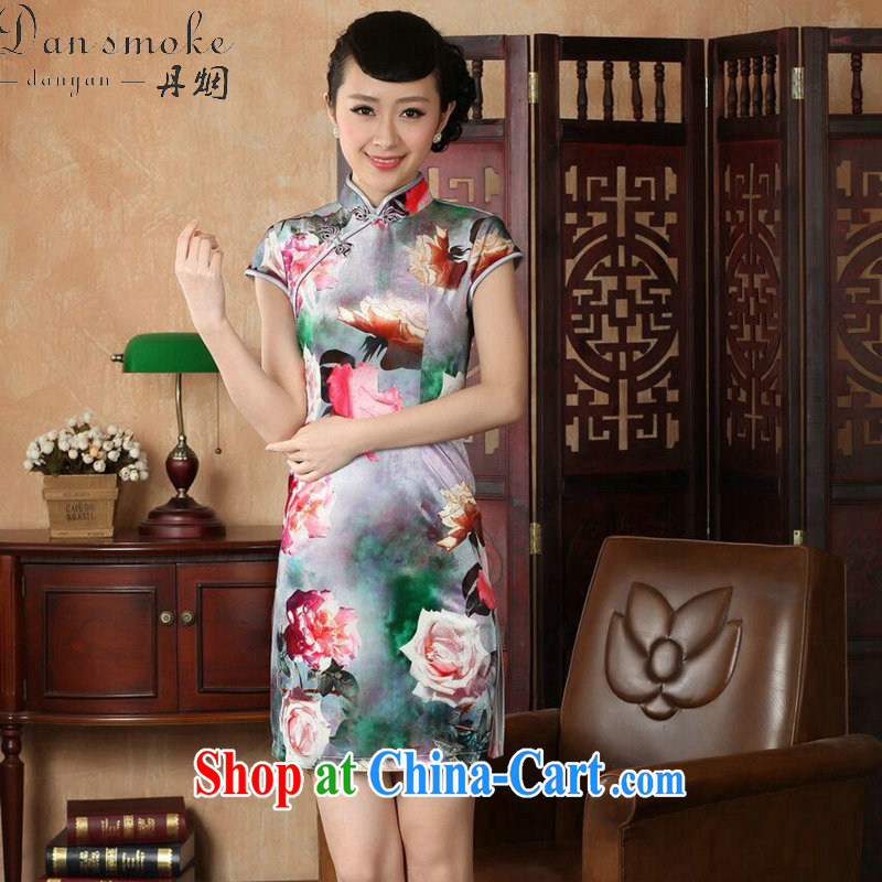 Dan smoke dresses summer new women with Chinese improved the collar stretch the wool painting stylish classic short-sleeved short cheongsam as color 2XL