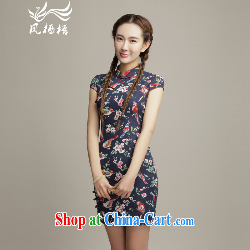 Bong-amphibious Ori-colored the 2015 summer new retro cotton the cheongsam stylish stamp cultivating cheongsam dress DQ 1505 fancy XXL