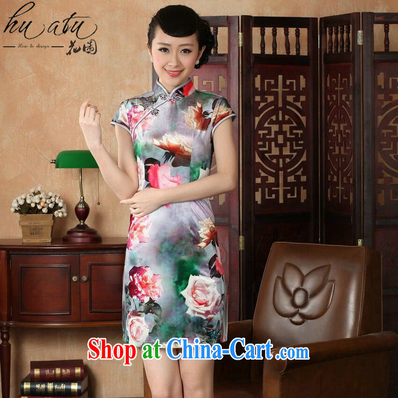 spend the summer outfit with new female Chinese improved the collar stretch the wool painting stylish classic short-sleeved short cheongsam as color 2XL