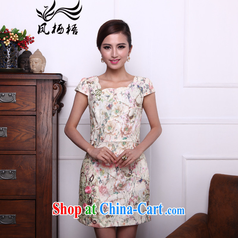 Bong-amphibious Ori-flower scent summer 2015 new improved cheongsam dress stylish beauty embroidery improved cheongsam DQ 1506 fancy XXL