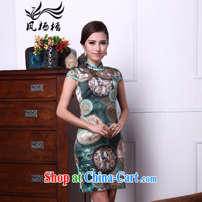 Bong-amphibious Ori-rich bird summer 2015 New Silk Cheongsam heavy silk retro dresses skirts DQ 1507 fancy XXL