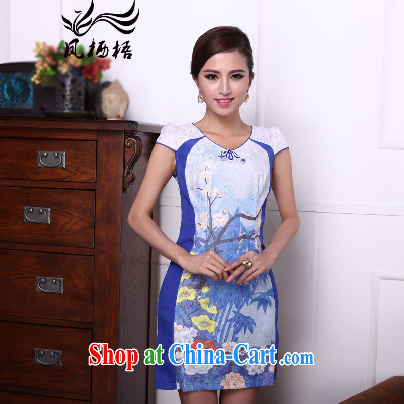 Bong-amphibious Ori-flowers, 2015 new, improved cultivation cheongsam dress composite lace round-collar cultivating cheongsam DQ 1510 blue XXL