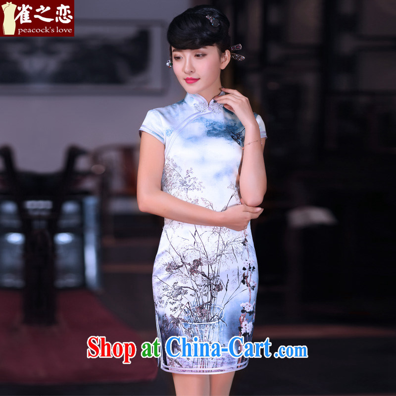 Birds of the Chamber spent Mau 2015 spring new improved cheongsam dress Silk Cheongsam short cheongsam QD 662 dead wood and spend M