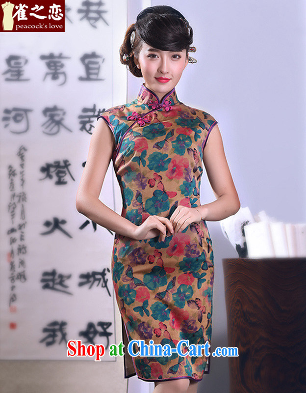 Bird lovers of smiling star threshold 2015 spring new, improved and stylish dresses skirts incense cloud yarn Silk Cheongsam QD 663 butterfly cue - pre-sale 15 days XXL