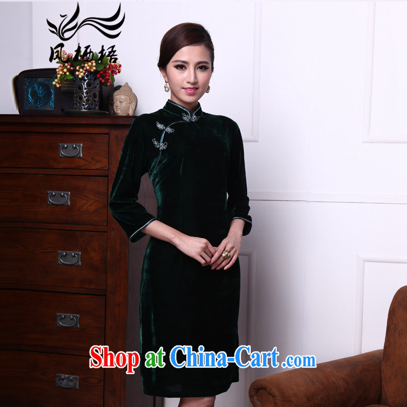 Bong-amphibious Ori-dyed dust 2015 new retro plush robes in the cuff for temperament dress cheongsam dress DQ 1516 dark green XXXL