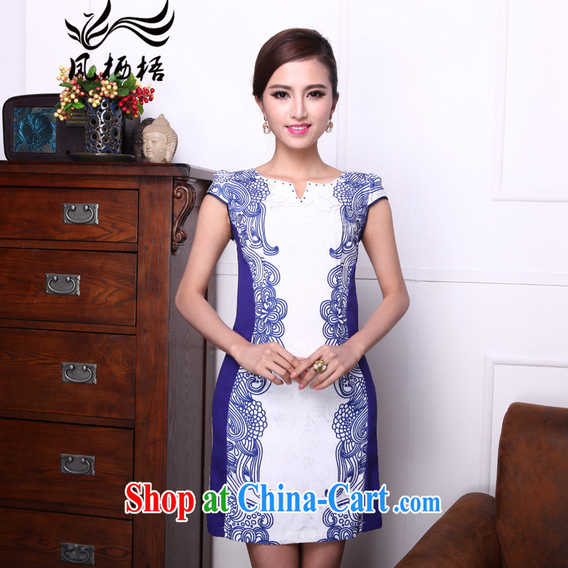 Bong-amphibious gulping Xiangyun summer 2015 new improved cheongsam dress fashion beauty style cheongsam DQ 1518 blue XXL
