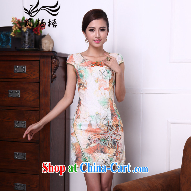 Bong-amphibious Ori-embroidered butterfly summer 2015 new improved cheongsam dress style beauty open style cheongsam dress DQ 1520 fancy XXL