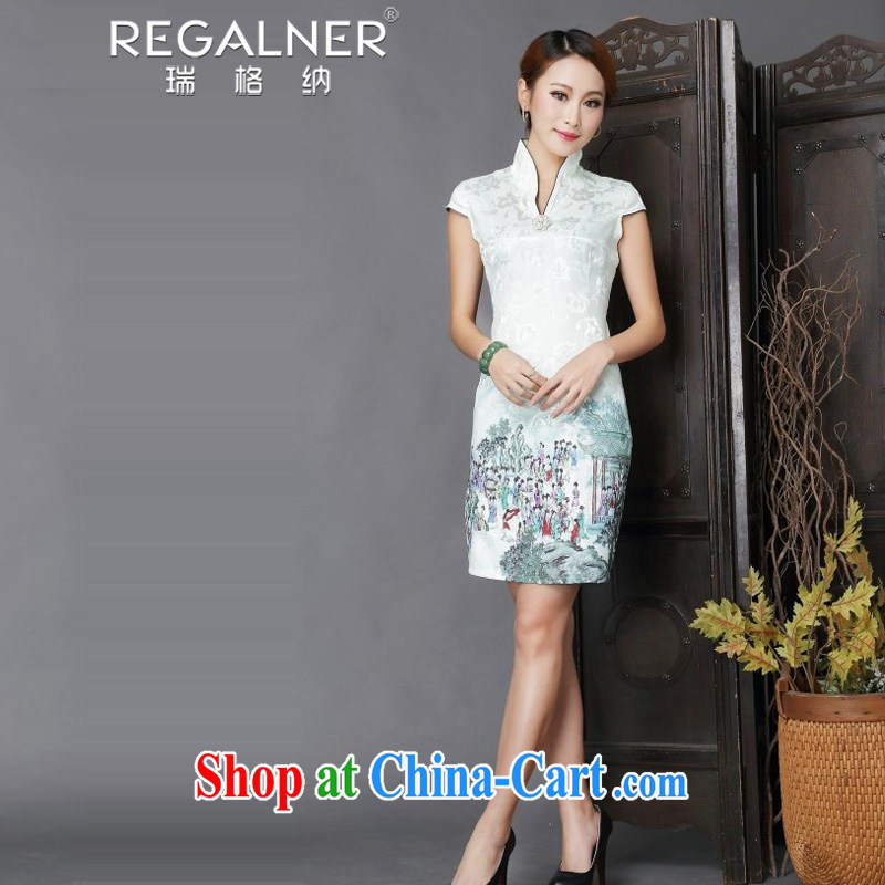 Ryan, the 2015 national style in a new, Chinese style improved Daily Beauty sexy cheongsam dress light green