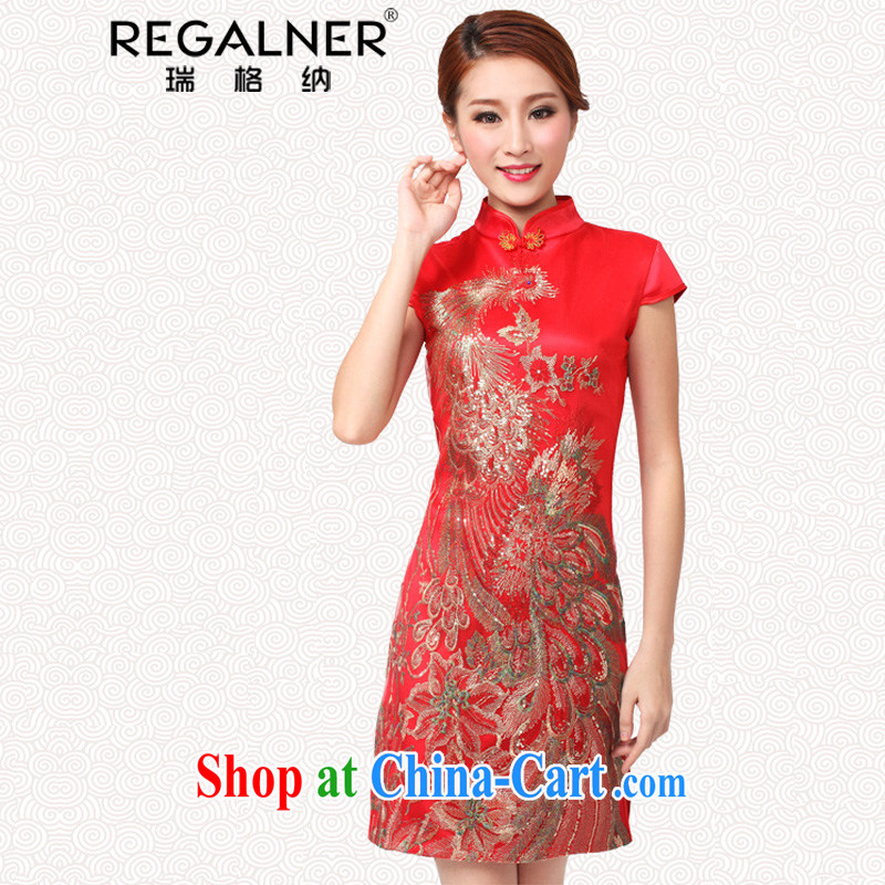 Ryan, 2015 new bridal dresses serving toast wedding dress retro improved annual fashion dress short red