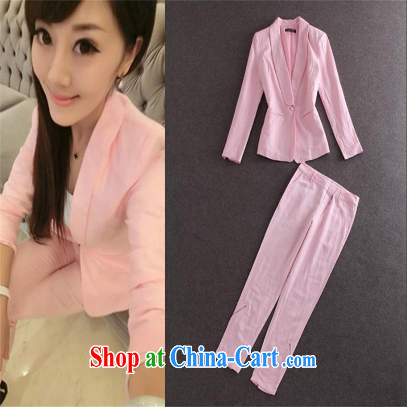 Ya-ting store spring 2015 new female American casual jacket + 9 direct and trouser press the Commission the high-quality Kit trousers pink L