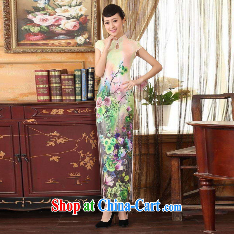Jing An outfit, Ms. Tang with Diane Fong drops short-sleeved cultivating long double cheongsam - A green 2 XL