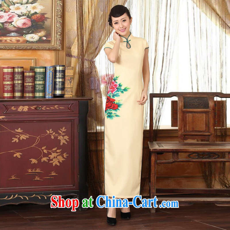 Jing An outfit Ms. Tang national color day Hong Kong cheongsam dress beauty graphics thin elegance dresses long dresses yellow 2XL