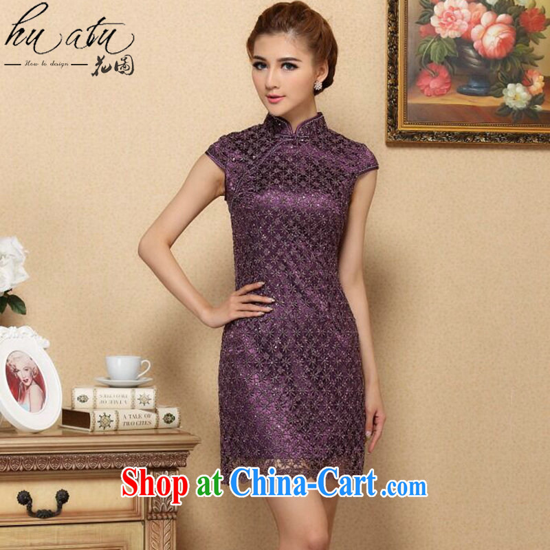 Take the dresses summer new manually set drill Chinese improved cheongsam, style water-soluble lace improved cheongsam dress purple 3XL