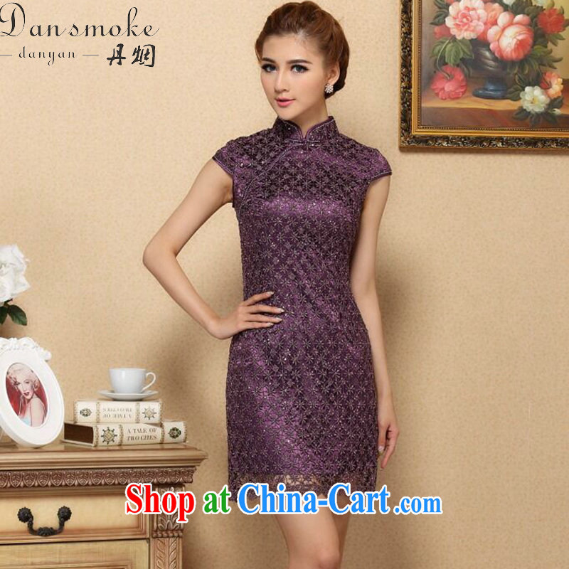 Dan smoke summer outfit New manually, the drill Chinese improved cheongsam, style water-soluble lace improved cheongsam dress purple 3XL