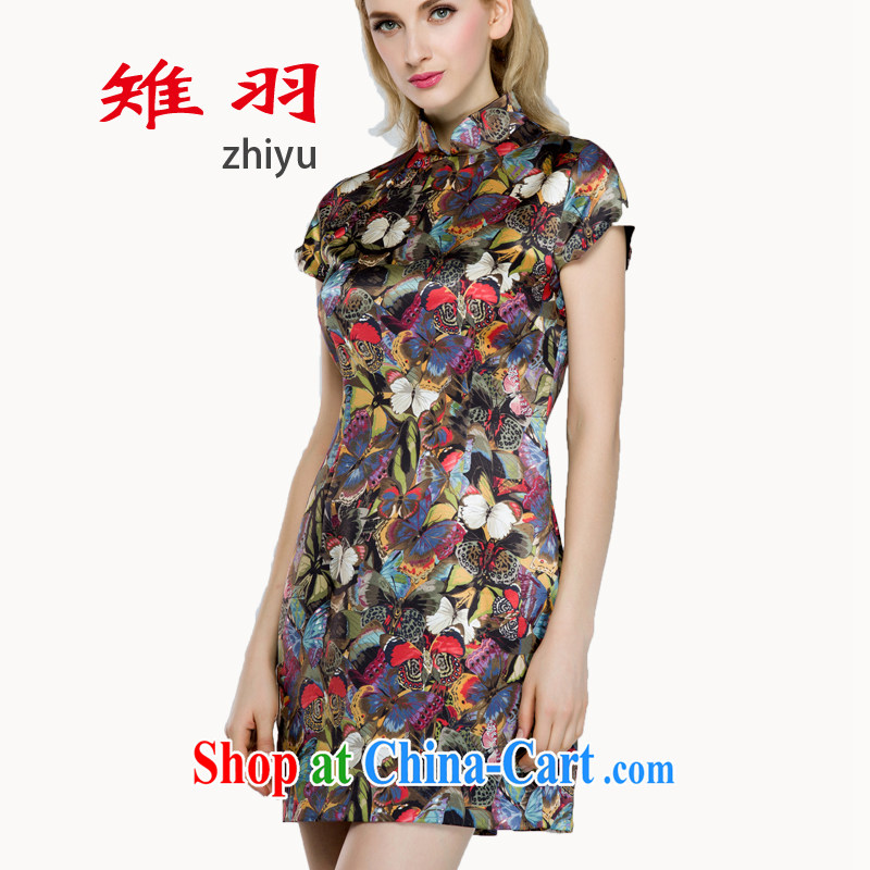 Tsutomu Hata pheasants cheongsam dress Old Shanghai style 2015 spring and summer fresh taste silk stamp pack and qipao L