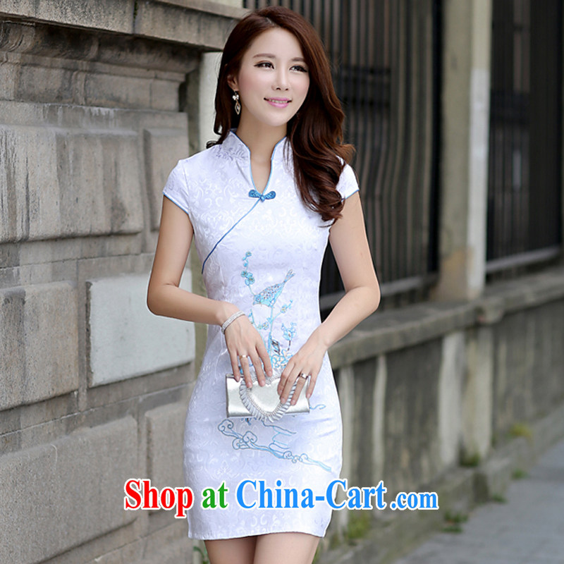 2015 spring and summer new women jacquard cotton retro short-sleeved, long cheongsam Chinese dresses daily beauty dress blue L