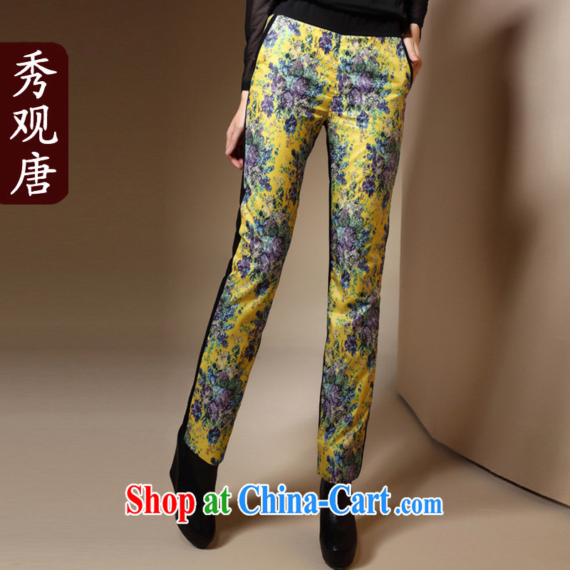 Cyd Ho Kwun Tong also Yu Chinese stamp duty, Ms. Bonfrere looked Chinese Ethnic Wind winter clothing 2015 new warm long pants K 31,057 yellow XXXL