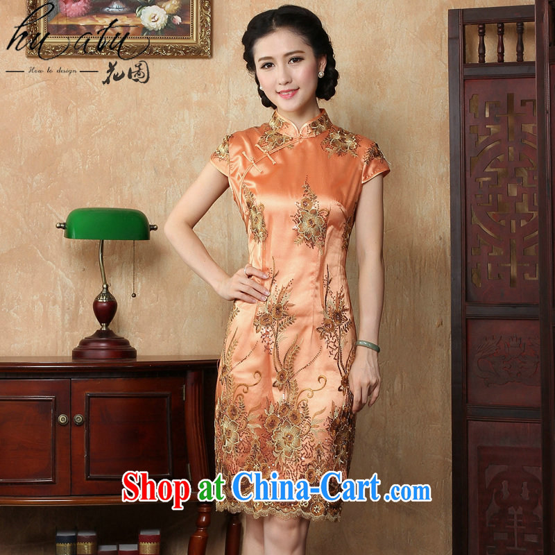 spend the summer wear cheongsam dress new Chinese improved the collar lace beauty short dresses and elegant and stylish cheongsam dress as shown color XL