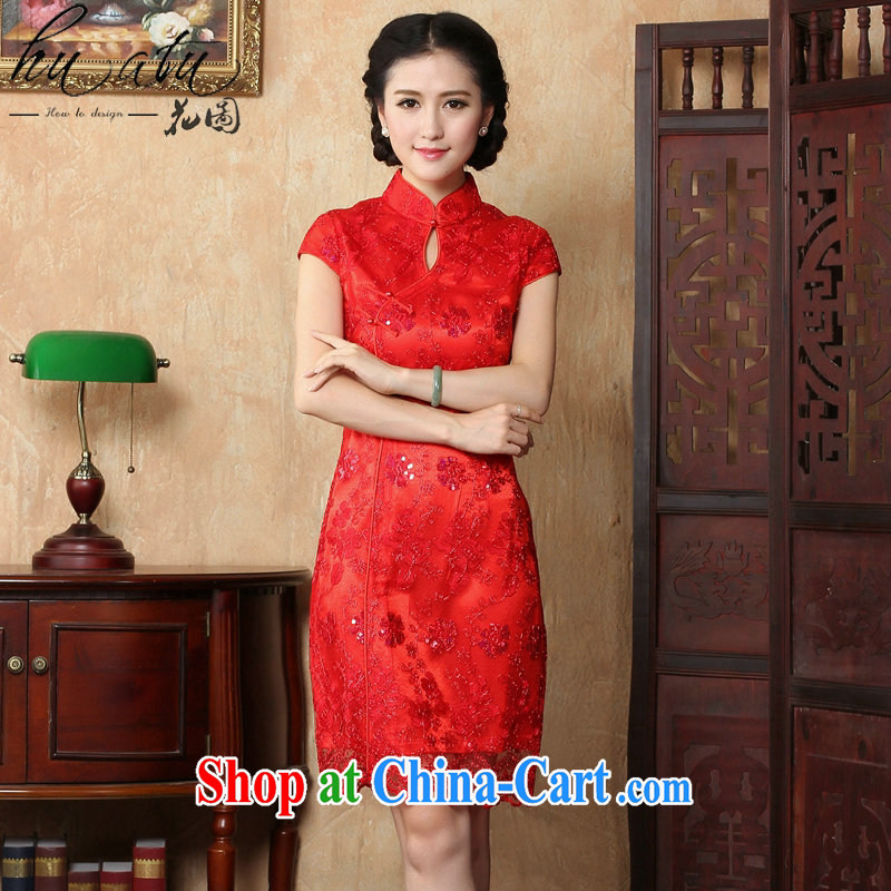 Take the red bridal wedding dress dresses summer female Chinese antique flower embroidery short improved cheongsam-Noble red 2 XL