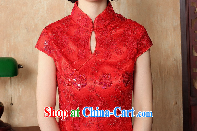 Bin Laden smoke bride toast wedding dress dresses summer female Chinese antique flower embroidery short improved cheongsam-Noble red 2 XL pictures, price, brand platters! Elections are good character, the national distribution, so why buy now enjoy more preferential! Health
