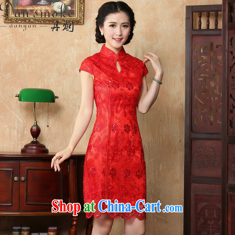 Bin Laden smoke bride toast wedding dress dresses summer female Chinese antique flower embroidery short improved cheongsam-Noble red 2 XL